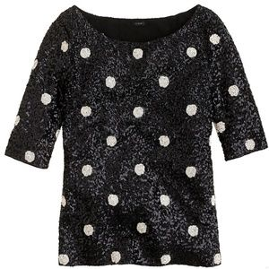 J. Crew Polka Dot Sequin Black and White Top